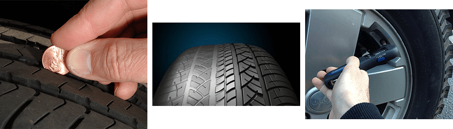 tire depth, uneven tore wear, tire pressure