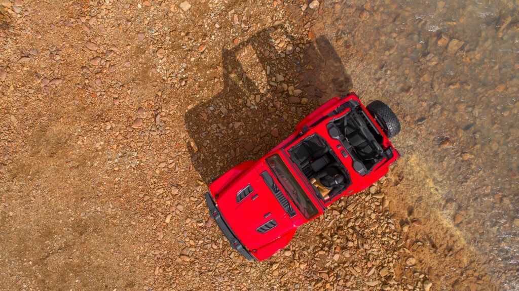 An overhead view of the all new Jeep Wrangler JL